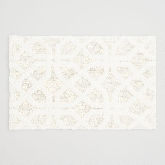 Ivory Tile Tufted Bath Mat
