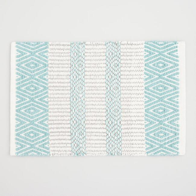 Aqua and Gray Diamond Striped Chenille Bath Mat