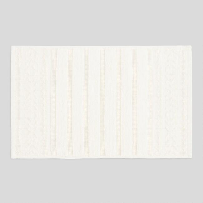 Ivory Woven and Tufted Striped Bath Mat