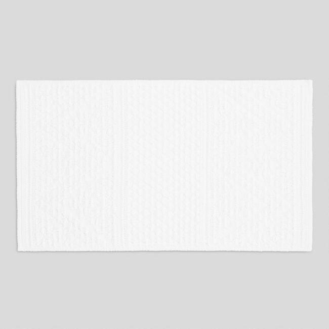 White Chevron Tory Tufted Bath Mat