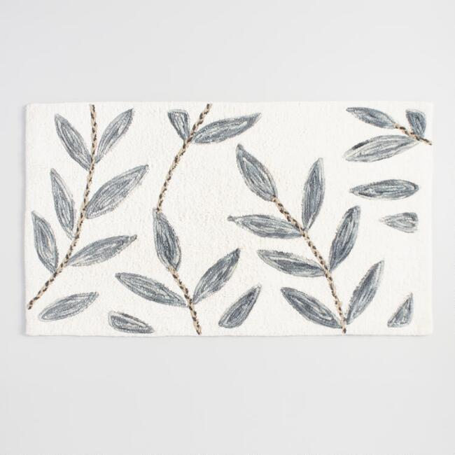 Ivory and Gray Leafy Vines Tufted Bath Mat