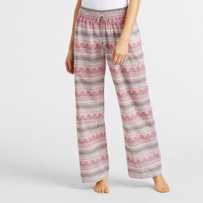 Pink and Gray Geo Tribal Lola Pajama Pants