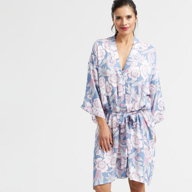 Blue and Lavender Floral Nalani Robe