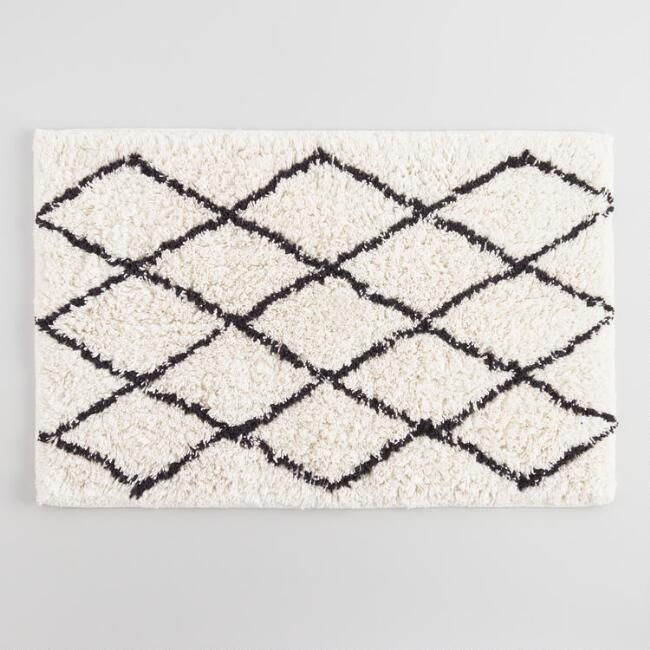 Ivory and Black Moroccan Diamond Shag Bath Mat