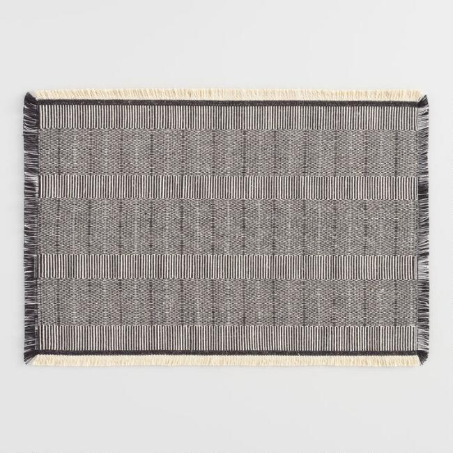 Neutral Cotton Jute Fringed Gaya Placemats Set of 4