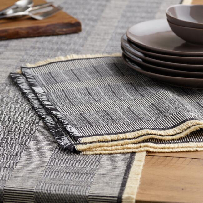 Neutral Cotton Jute Fringed Gaya Table Linen Collection