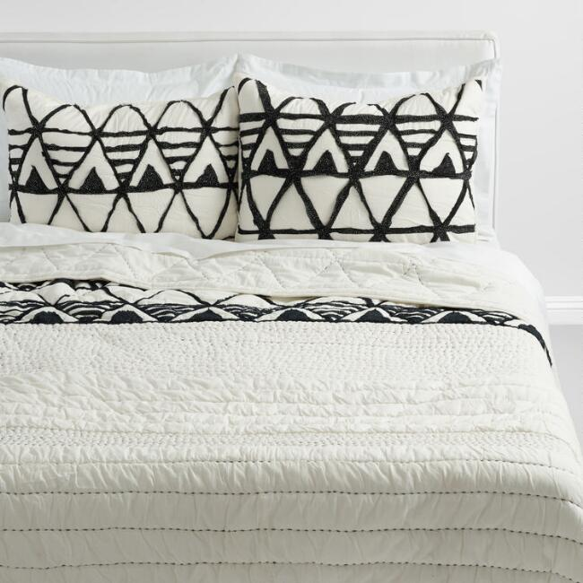 Ivory and Black Diamond Kantha Logan Bedding Collection