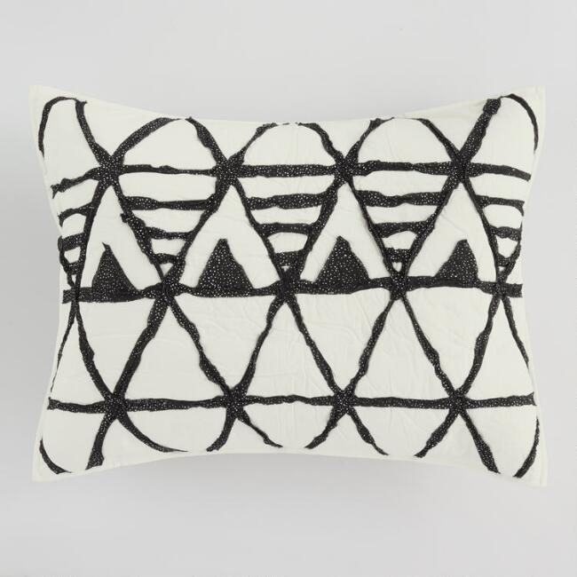 Ivory and Black Diamond Logan Pillow Shams Set of 2