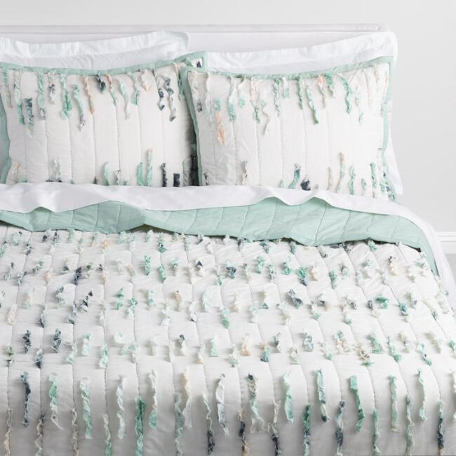 Ivory and Aqua Ruffle Shannon Quilt