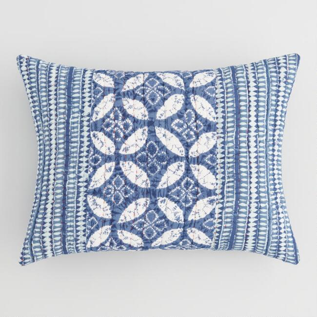 Indigo Geometric Kantha Kashvi Pillow Shams Set of 2