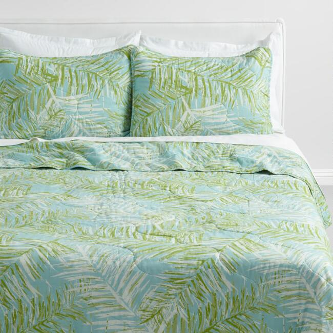Green and Ivory Palm Leaves Bali Quilt