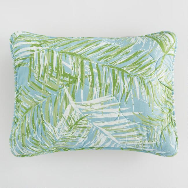 Green and Ivory Palm Leaves Bali Pillow Shams Set of 2