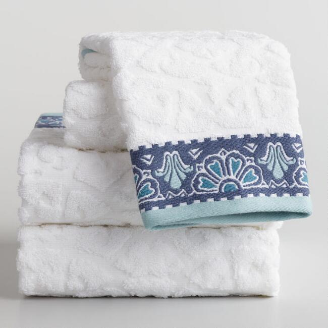 White and Blue Medallion Noelle Sculpted Towel Collection
