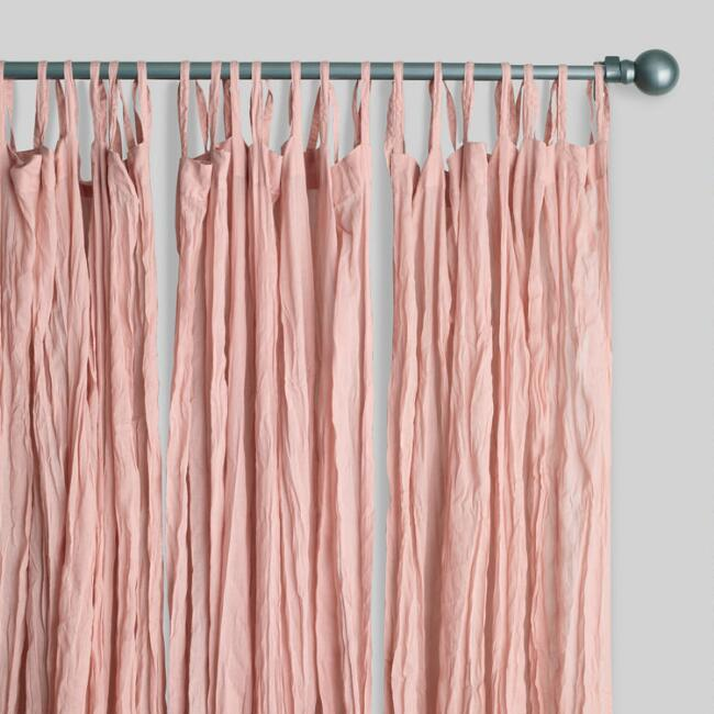 Blush Cotton Crinkle Voile Curtains Set of 2