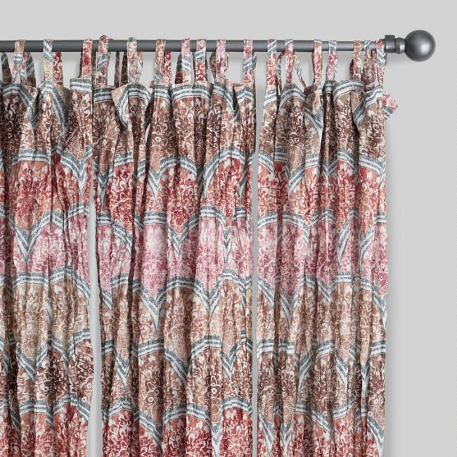 Warm Multicolor Cotton Crinkle Voile Curtains Set Of 2