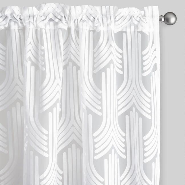 Art Deco Sheer Burnout Curtains Set of 2