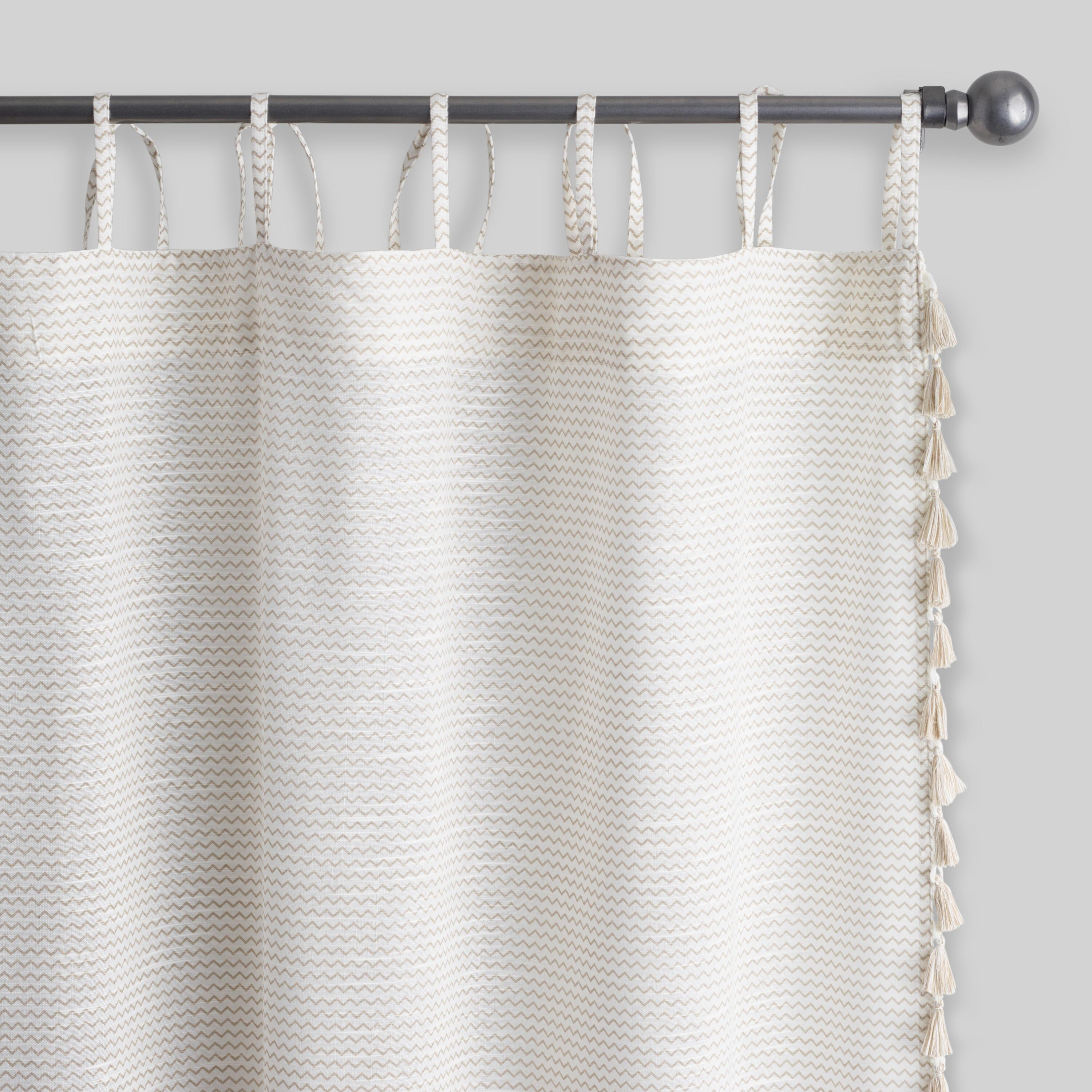 Zigzag Print With Tassels Tie Top Curtains Set Of 2: White