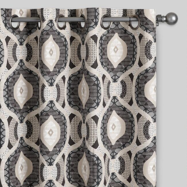 brown and gray ashanti grommet top curtains set of 2 world market. Black Bedroom Furniture Sets. Home Design Ideas