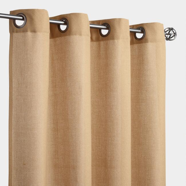 Natural Textured Grommet Top Outdoor Curtains Set of 2