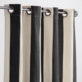 Black And White Stripe Grommet Top Outdoor Curtains Set Of 2