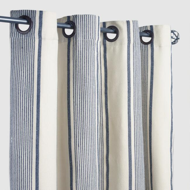 Blue Ticking Stripe Grommet Top Outdoor Curtains Set of 2