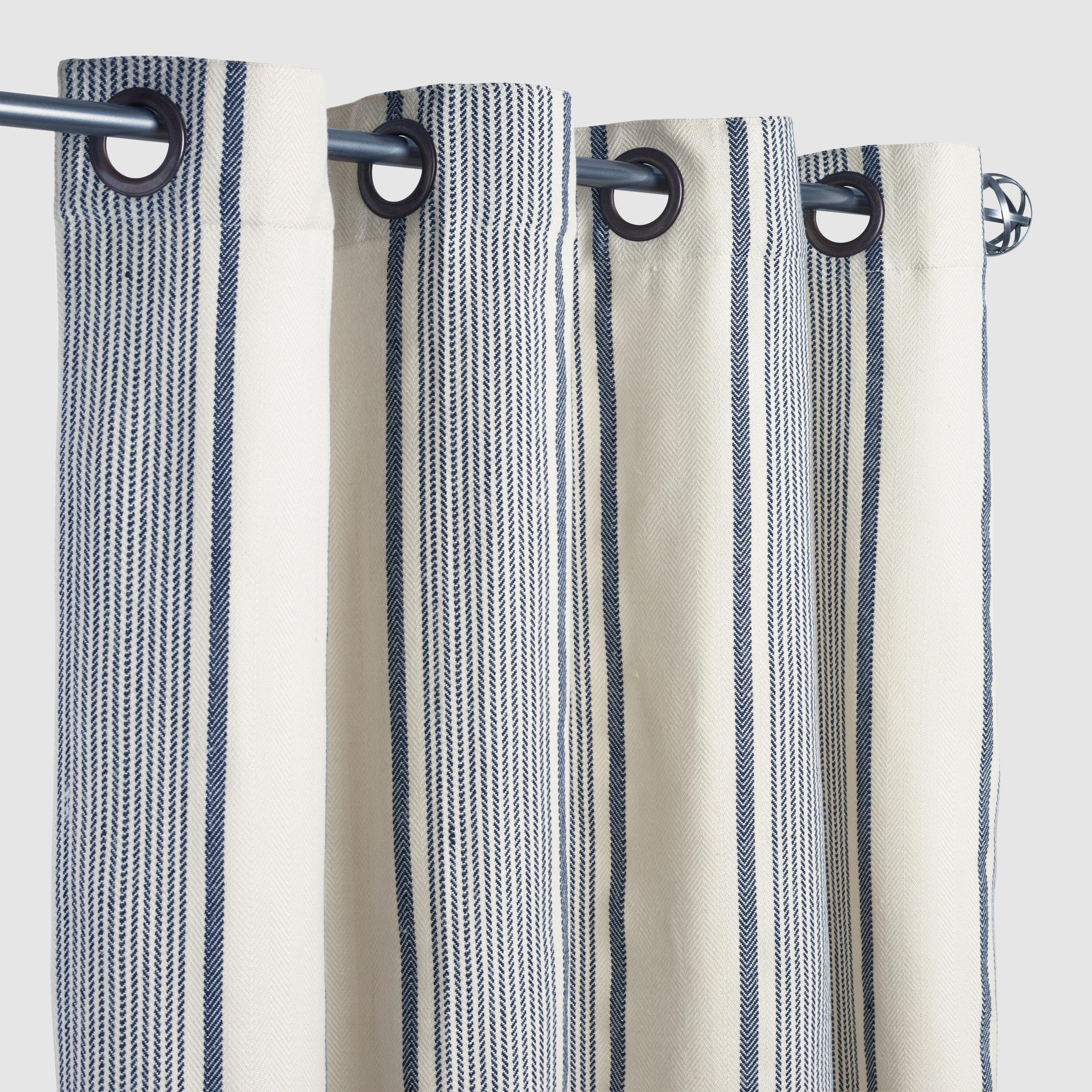 Blue Ticking Stripe Grommet Top Outdoor Patio Curtains