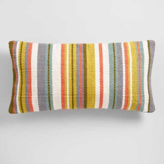 Woven Oasis Stripe Indoor Outdoor Lumbar Pillow