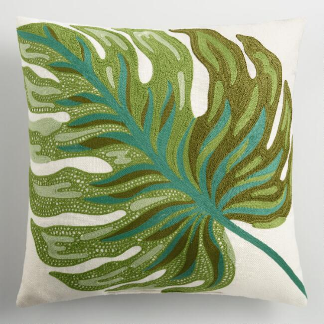 Palm Leaf Embroidered Indoor Outdoor Throw Pillow