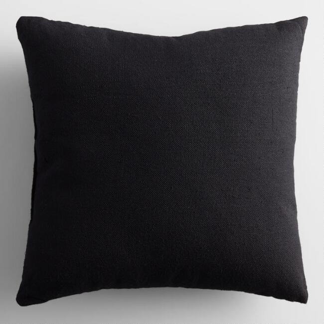 Black Woven Indoor Outdoor Throw Pillow