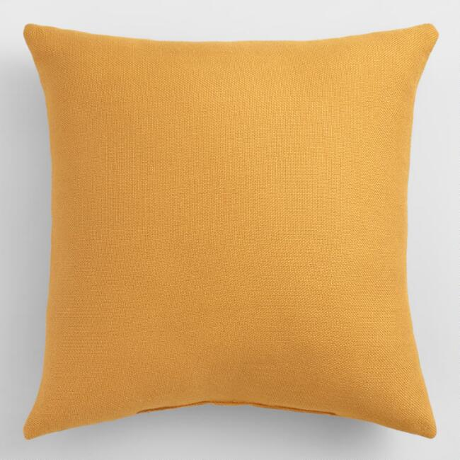 Mustard Woven Indoor Outdoor Throw Pillow