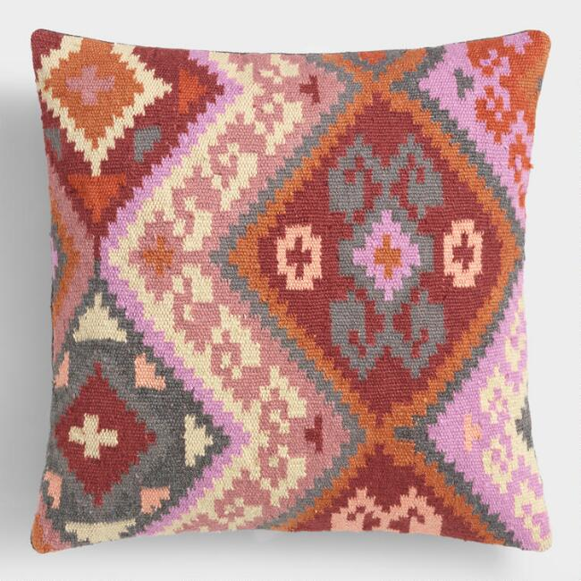 Kilim Orchid Woven Indoor Outdoor Throw Pillow