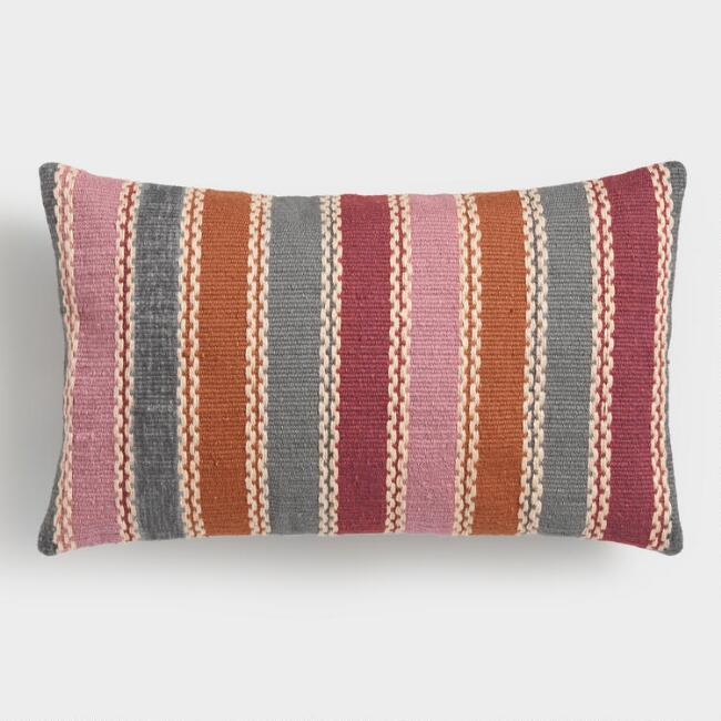 Warm Multicolor Woven Indoor Outdoor Lumbar Pillow