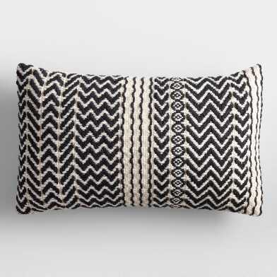Black and Ivory Zigzag Woven Indoor Outdoor Lumbar Pillow