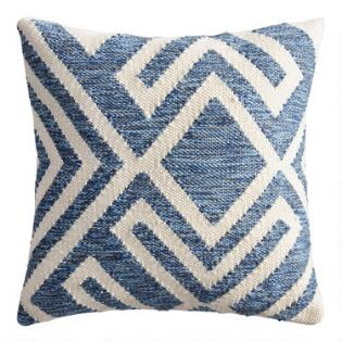 Blue and Ivory Geometric Indoor Outdoor Throw Pillow 89603fab5c