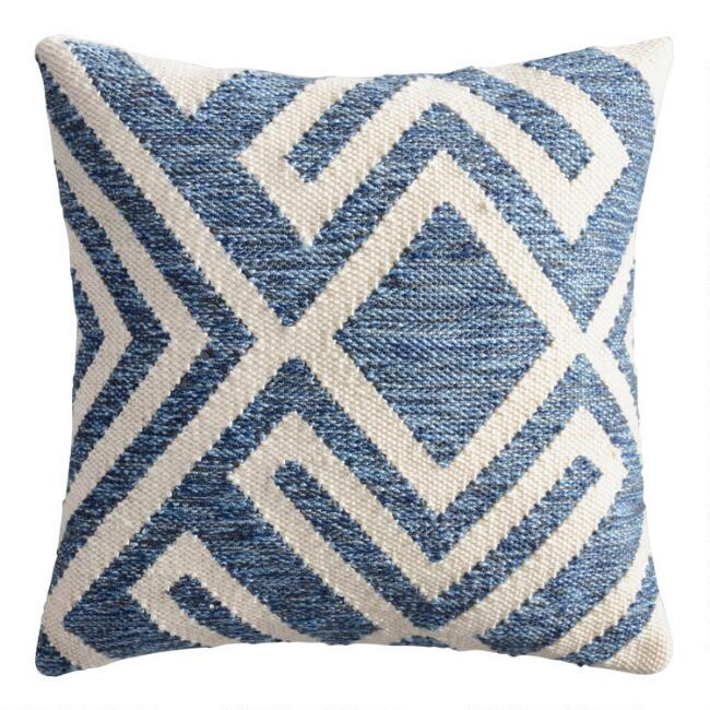 Blue and Ivory Geometric Indoor Outdoor Throw Pillow | World Market