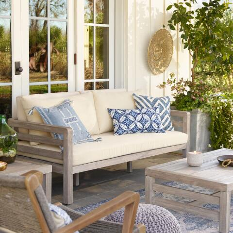 Blue And Ivory Geometric Indoor Outdoor Throw Pillow World Market