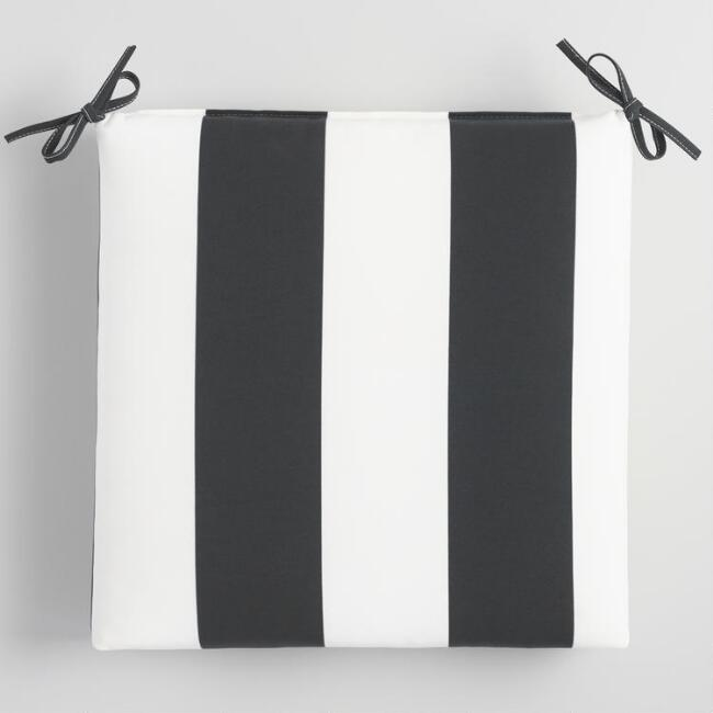 Black and White Awning Stripe Outdoor Chair Cushion