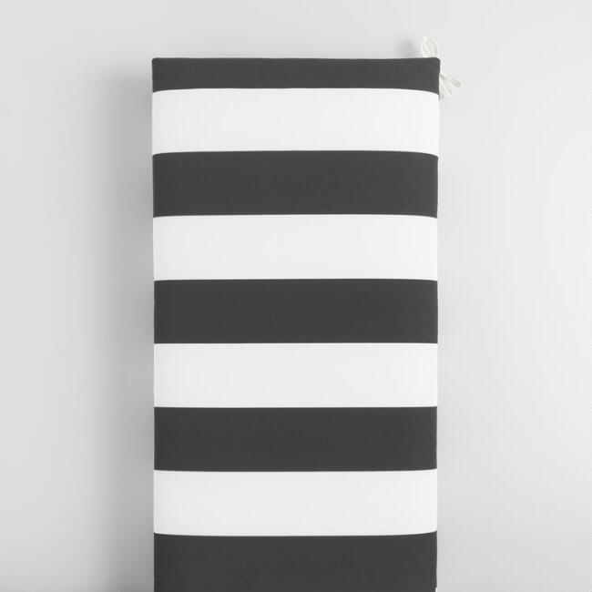 Black and White Awning Stripe Outdoor Bench Cushion
