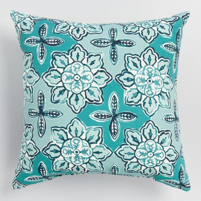 Blue Seaside Tile Outdoor Throw Pillow
