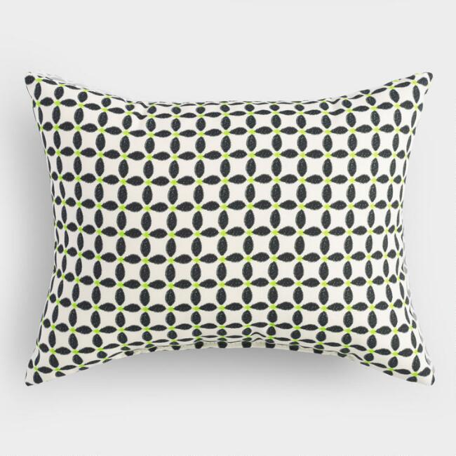 black and white geometric outdoor lumbar pillow world market. Black Bedroom Furniture Sets. Home Design Ideas