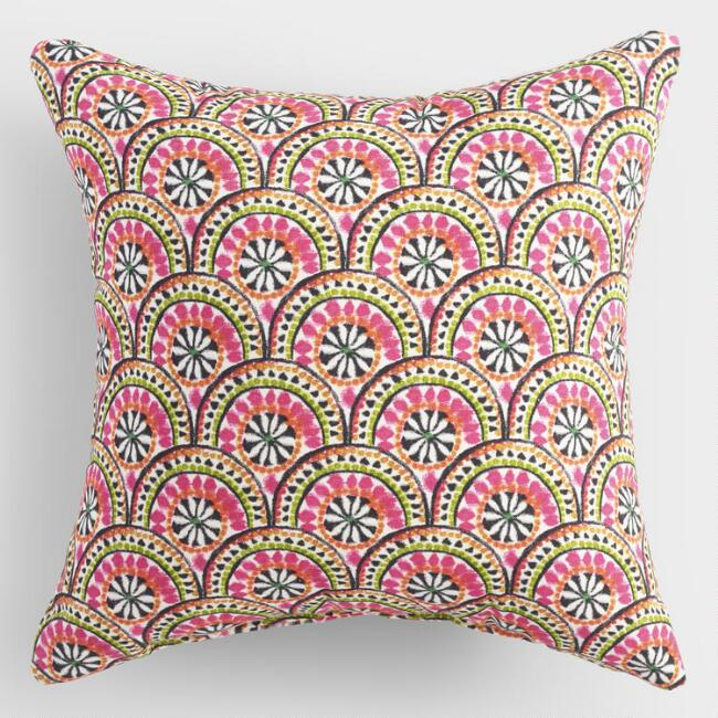 Pink Jungle Scallop Outdoor Throw Pillow