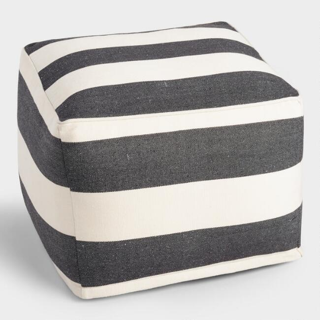 Square Black and White Awning Stripe Indoor Outdoor Pouf