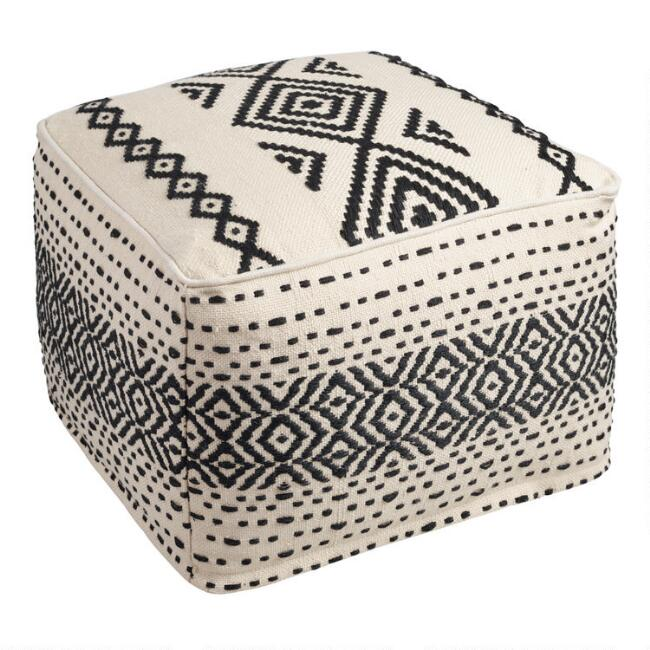 Black and White Kilim Indoor Outdoor Pouf