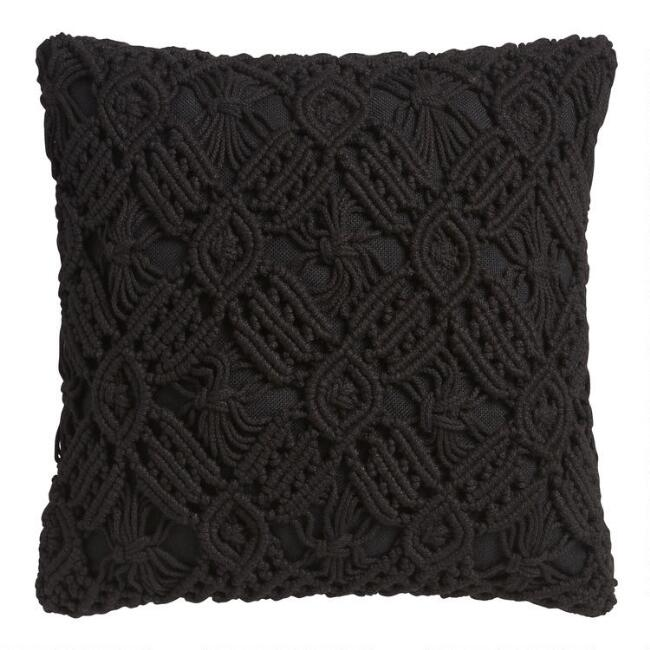 Black Macrame Indoor Outdoor Throw Pillow