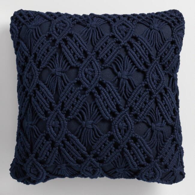 Navy Blue Macrame Indoor Outdoor Throw Pillow