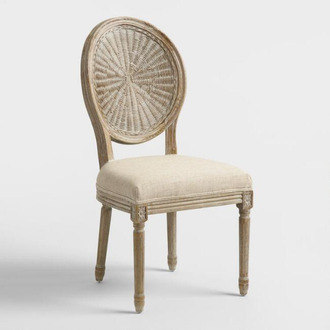 Natural Cane Paige Round Back Dining Chairs Set Of 2
