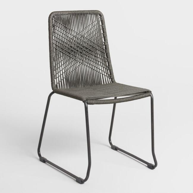 Charcoal Gray Nautical Rope Reeves Dining Chair Set of 2