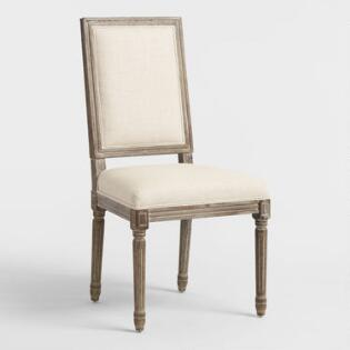 Natural Linen Square Back Paige Dining Chairs Set Of 2