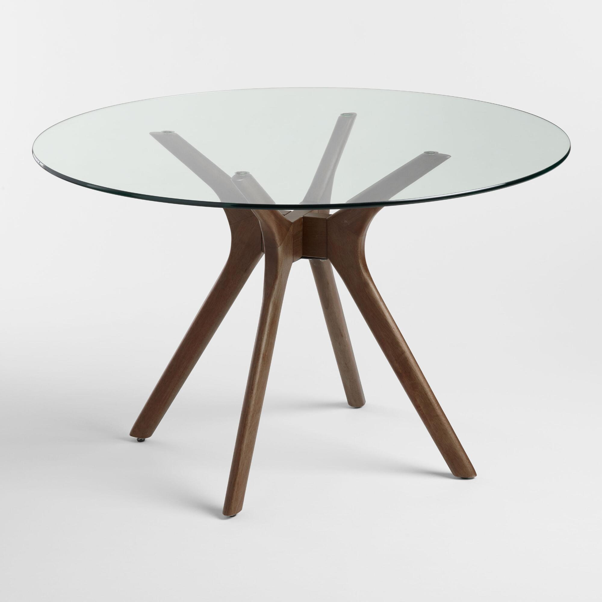Round Glass Top Briana Table: Brown - Wood - Small by World Market