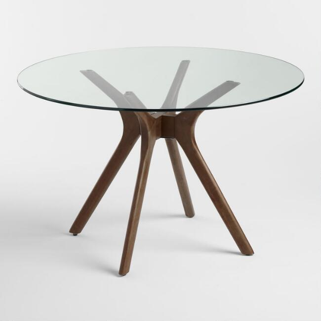 Round Wood and Glass Briana Table. Dining Room Tables   Rustic Wood Farmhouse Style   World Market